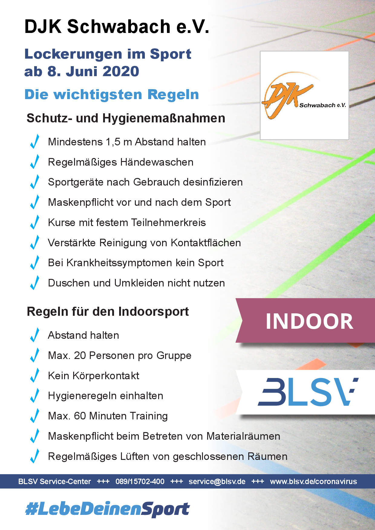 Plakat Sportbetrieb Indoor